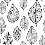 Seamless pattern with leaves. Seamless back and white pattern with leaves. Use for wallpaper, pattern fills, web page background royalty free illustration