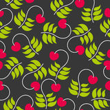 Seamless pattern leaves and berries cherries. Bright seamless pattern leaves and berries of a cherry on a dark background. vector illustration Stock Photography