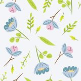 Seamless pattern with leaves and blue flowers. Botanical floral. Backdrop. Flat vector illustration Stock Images