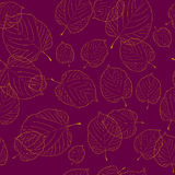Seamless pattern of leaves on bordeaux background Royalty Free Stock Image