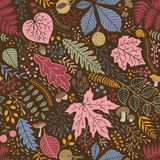 Seamless pattern of leaves, branches and berries Royalty Free Stock Photo