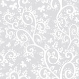 Seamless pattern with leaves, branches, butterflies on a gray background.  Royalty Free Stock Photos