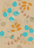 Seamless Pattern with Leaves and Bugs Stock Image