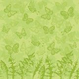 Seamless pattern, leaves and butterflies Royalty Free Stock Photo