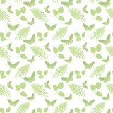 Seamless pattern with  leaves and butterflies. On white background Stock Photo