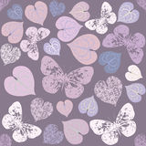 Seamless pattern with leaves and butterfly silhouettes Royalty Free Stock Photo