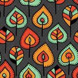 Seamless pattern with leaves stock illustration
