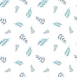 Watercolor seamless pattern leaves and branches vector illustration