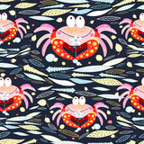 Seamless pattern of leaves and crabs Royalty Free Stock Photos