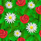Seamless pattern with leaves, daisies and roses. Seamless background with green shiny leaves, daisies and red roses Stock Photography