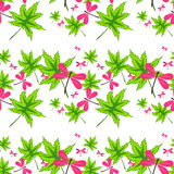 Seamless pattern with leaves and dragonflies-1 Royalty Free Stock Photos