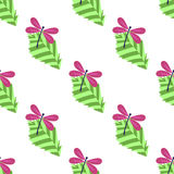 Seamless pattern with leaves and dragonflies. On white background Stock Photo