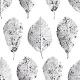 Seamless pattern with leaves. Dry leaves with veins. Royalty Free Stock Photo