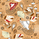 Seamless pattern of leaves and fabulous animals Stock Photography