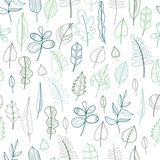 Seamless pattern with leaves, floral background. Vector Stock Photo