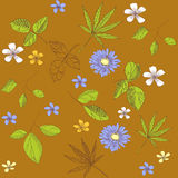 Seamless pattern with leaves and flowers Royalty Free Stock Photo