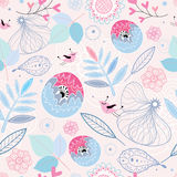 Seamless pattern of leaves and flowers Royalty Free Stock Photos