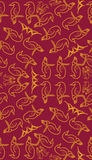 Seamless pattern with leaves, flowers and birds royalty free illustration