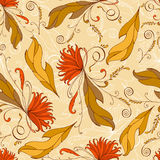 Seamless pattern with leaves and flowers. Stock Images