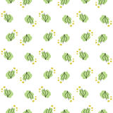 Seamless pattern with leaves and golden dots. Colorful pattern with nature elements on a white background Royalty Free Stock Photography