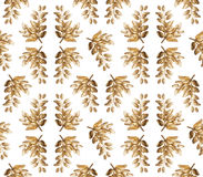 Seamless pattern. Leaves of golden glitter on white background Royalty Free Stock Photo