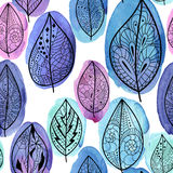 Seamless pattern with leaves vector illustration