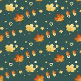 Seamless pattern with leaves. Heart- shaped leaves. Vector illustration. royalty free illustration