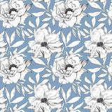 Seamless pattern of leaves, herbs, tropical plant. stock illustration