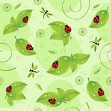 Seamless pattern with leaves insects Royalty Free Stock Photography