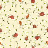 Seamless pattern with leaves and ladybirds Stock Photos