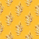 Seamless pattern of leaves. Leaf imprints. Autumn background. Royalty Free Stock Photography