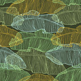 Seamless pattern with leaves of palm tree Royalty Free Stock Photography