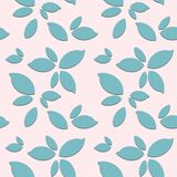 Seamless pattern with leaves on pink background. vector illustration