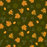 Seamless pattern with leaves and silhouettes Royalty Free Stock Images