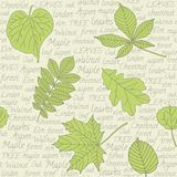 Seamless pattern with leaves on text background Stock Photo