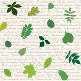 Seamless pattern with leaves on text background Stock Photography