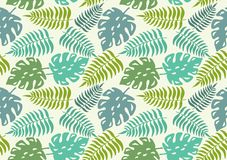 Seamless pattern with leaves of tropical plants. Vector illustration. Royalty Free Stock Photo