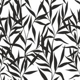 Seamless pattern with leaves on a white background. Vector stylized branches and leaves for design Royalty Free Stock Image