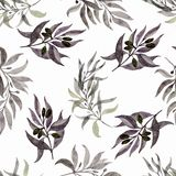 Seamless pattern with leaves on a white background. Watercolour hand painted. Beautiful design for wallpapers, textiles, fabrics stock photos