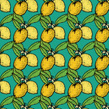 Seamless pattern with lemon. On blue background, vector illustration Royalty Free Stock Photo