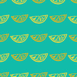 Seamless pattern with lemon. On blue background, vector illustration Stock Photography