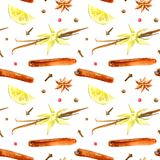 Seamless pattern of a lemon, cinnamon, vanilla, cloves, star anise. Ingredients for mulled wine.Watercolor hand drawn illustration.White background Stock Image