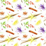 Seamless pattern of a lemon, cinnamon, vanilla, cloves, star anise,saffron,barberry. Ingredients and spices.Watercolor hand drawn illustration.White background Stock Image