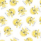 Seamless pattern with lemon cute smile character in glasses. Cartoon yellow fruit royalty free illustration