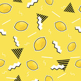 Seamless pattern with lemon elements in cartoon 80s-90s comic style.Vector background. Seamless pattern with lemon elements in cartoon 80s-90s comic style Royalty Free Stock Image