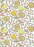 Seamless pattern with lemon and flowers. Royalty Free Stock Images