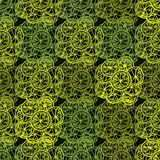 Seamless pattern with lemon. On green background, vector illustration Royalty Free Stock Image