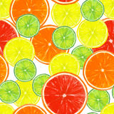 Seamless pattern with lemon, lime, orange and grapefruit slices. Watercolor hand drawn seamless pattern with lemon, lime, orange and grapefruit slices on white royalty free stock images