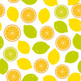 Seamless pattern with lemon, lime, orange on the white background Royalty Free Stock Photos