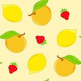 Seamless pattern with lemon and orange Royalty Free Stock Images